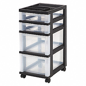 Cart with Organizer Top,4 Drawer