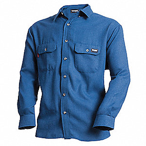 "Gray Flame-Resistant Collared Shirt, Size: M, Fits Chest Size: 40"", 8.9 cal/cm2 ATPV Rating"