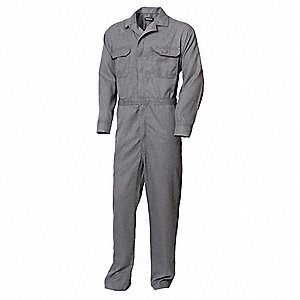 TECGEN® Inherent Flame Resistant Fabric, Flame-Resistant Coverall, Size: S, Color Family: Blues