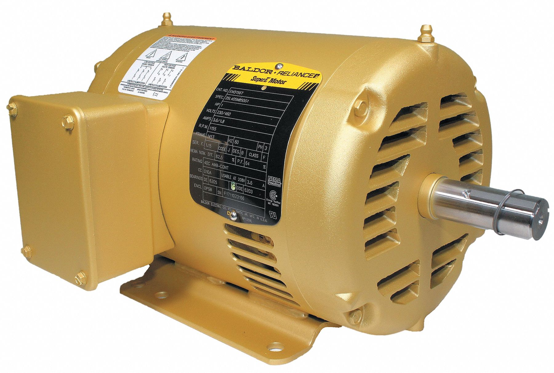 Baldor Electric Motor 3 Ph 1 Hp 1155 Rpm 145t Odp 39e427