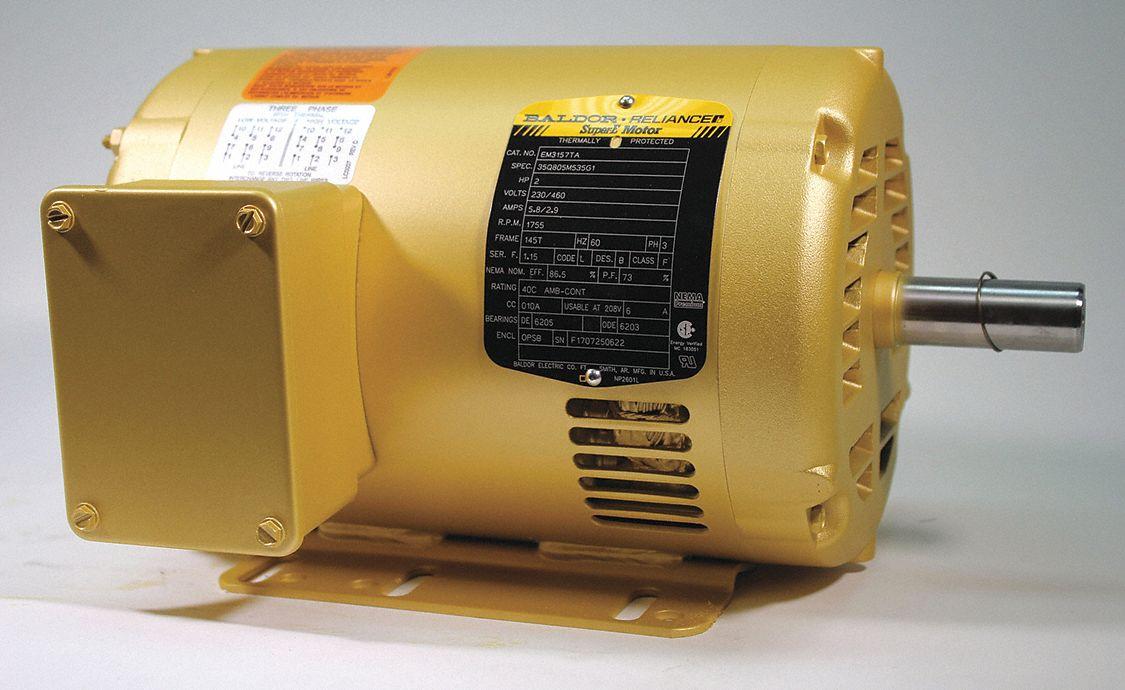 Baldor Electric Motor 3 Ph 2 Hp 1755 Rpm 145t Odp 39e429