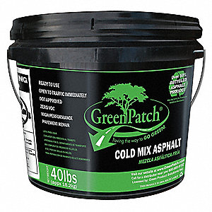 Solid Pavement Repair Patch, 40 lb. Size, Pail Container Type, Coverage: 3 ft. x 3 ft.