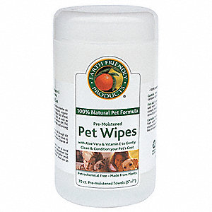 Pre-Moistened Pet Wipes, 70 ct. Canister, 1 EA
