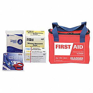 First Aid Kit,Bulk,Red,22 Pcs,10 People