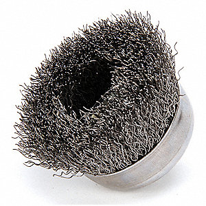 Crimped Wire Cup Brush,3 In.,0.014 In.