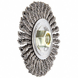 "Threaded Arbor Wire Wheel Brush, Twist Wire, 4"" Brush Dia."