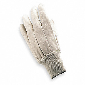 Cotton Canvas Gloves, Knit Cuff, 8 oz. Fabric Weight, Natural, L, PR 1