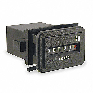 Hour Meter, 10 to 80VDC Operating Voltage, Number of Digits: 6, Rectangular Bezel Face Shape