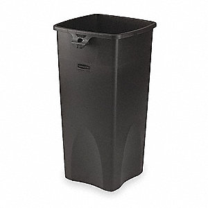 23 gal. Square Black Open-Top Trash Can
