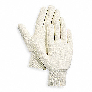 Cotton Jersey Gloves, Knit Cuff, 7 oz. Fabric Weight, White, L, PR 1