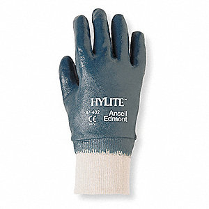 Nitrile Coated Gloves, Blue/White