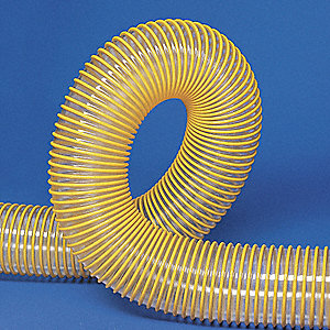 "Clear/Yellow Industrial Ducting Hose, Urethane, 2"" Inside Dia., 25 ft. Length"