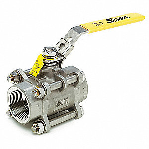 "316 Stainless Steel FNPT x FNPT Ball Valve, Locking Lever, 1-1/4"" Pipe Size"