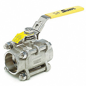"316 Stainless Steel Socket x Socket Ball Valve, Locking Lever, 2"" Pipe Size"