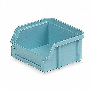 "Hang and Stack Bin, Light Blue, 3-1/2"" Outside Length, 4"" Outside Width, 2"" Outside Height"