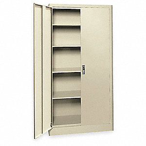 "Radius Edge Storage Cabinet, Putty, 72"" Overall Height, Assembled"