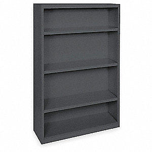 Bookcase,Steel,4 Shelf,Black,52Hx36W