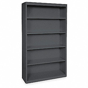 Bookcase,Steel,5 Shelf,Black,72Hx46W