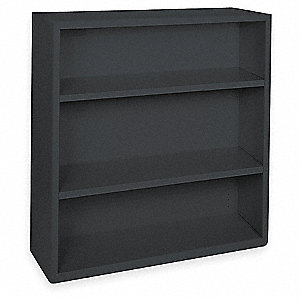 Radius Corner Bookcase,Steel,3 Shelf,Blk