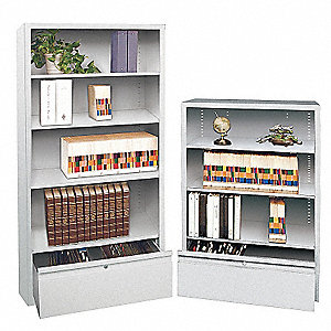 Bookcase Drawer Cabinet,4 Shelf,Lt Gry