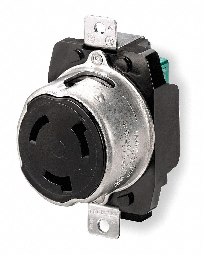 Hubbell Wiring Device Kellems Black Locking Receptacle 50