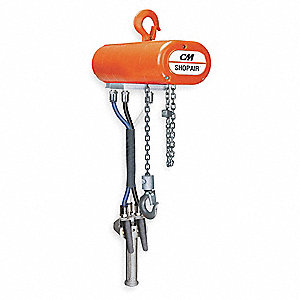Air Chain Hoist, 1000 lb. Load Capacity, 10 ft. Lift, 11 fpm, 34 scfm