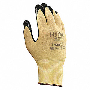 Nitrile, Cut Resistant Gloves, Kevlar® Lining, Yellow/Black, S, PR 1