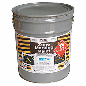White Traffic Zone Marking Paint, Chlorinated Solvent Base Type, 5 gal.