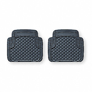 Floor Mat Set,Rear,Black,18.38 In