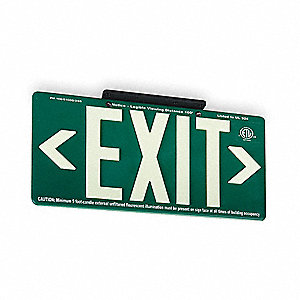 Exit Sign,8-5/8 x 15-7/8In,WHT/GRN,Exit