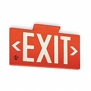 Exit Sign,8-3/4 x 15-3/8In,WHT/R,Exit