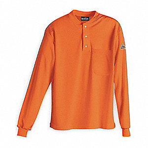 "Orange Flame-Resistant Henley Shirt, Size: XL, Fits Chest Size: 46 to 48"", 9.6 cal/cm2 ATPV Rating"