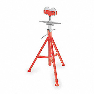 "Roller Head Pipe Stand, 1/8 to 12"" Pipe Capacity, 32"" to 55"" Overall Height, 1000 lb. Load Capacity"