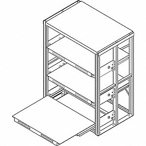 "High Capacity Roll Out Shelving, 84-1/2"" Height, 48"" Width, 2000 lb. Shelf Capacity, Unassembled"