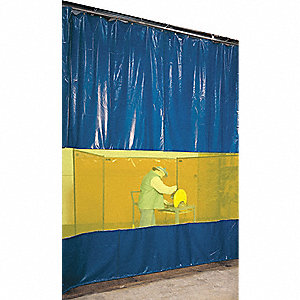 Blue Curved Welding Curtain Wall, Face Mount Mounting, 4 ft. Width, 10 ft. Height