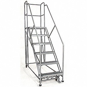"Rolling Work Platform, Steel, Single Access Platform Style, 60"" Platform Height"