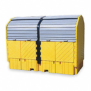 Covered Twin IBC Containment Unit, 16,000 lb. Load Capacity, 535 gal. Spill Capacity