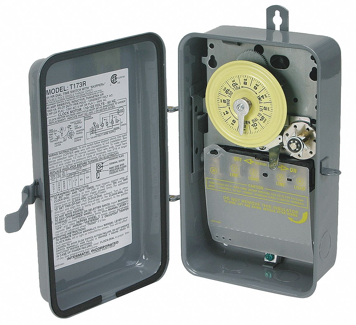 Intermatic Electromechanical Timer  120vac Voltage  40 Amps  Max  Time Setting  20 Hr