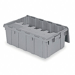 "Attached Lid Container, 2.25 cu. ft. Volume Capacity, 27"" Outside Length, 16-15/16"" Outside Width"