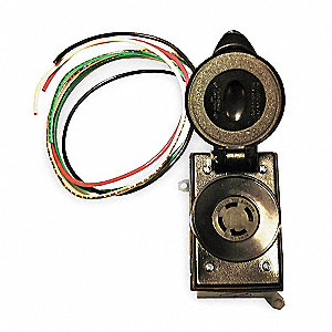 Cep 30 amp prewired receptacle 125 250vac 10 awg wire for Wire size for 125 amp service