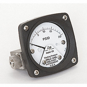 Pressure Gauge,0 to 20 psi