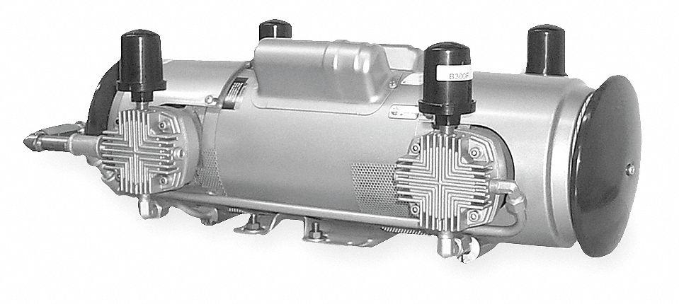 Gast 1 1 2 hp piston air compressor 115 208 230vac 50 50 for Gast air motor distributors