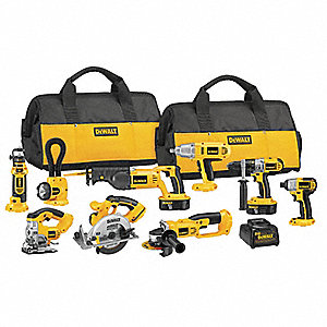 Cordless Combination Kit, Voltage 18.0 NiCd, Number of Tools 9