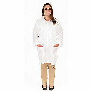 White, Body Filter 95+ , Disposable Lab Coat, Size: M