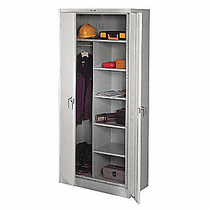 "Combination Storage Cabinet, Light Gray, 78"" Overall Height, Assembled"