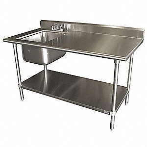 Stainless Steel Scullery Sink with Right Work Table, Without Faucet, 16 Gauge, Floor Mounting Type