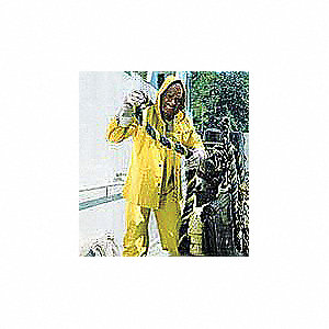 "Men's Yellow PVC Rain Coat with Detachable Hood, Size M, Fits Chest Size 38"" to 40"", 49"" Jacket Leng"