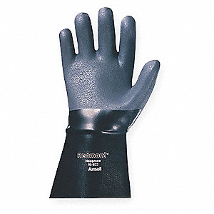 Neoprene Chemical Resistant Gloves, Heavy Weight Thickness, Jersey Lining, Size 10, Black, PR 1
