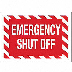 Fire Emergency Sign,7 x 10In,White/Red