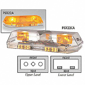 Amber Low Profile Mini Dual Deck Lightbar, LED Lamp Type, Permanent Mounting, Number of Heads: 4
